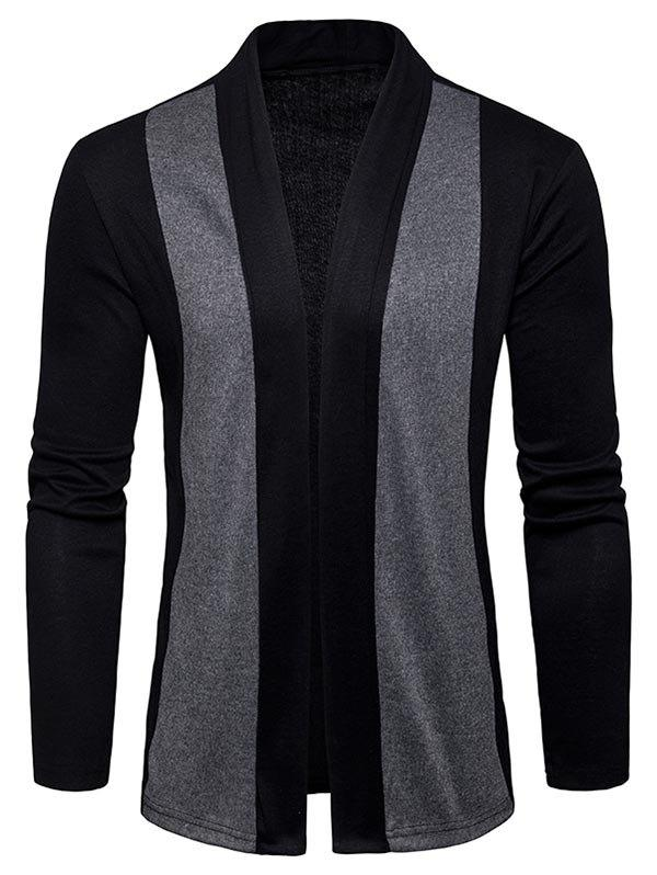 Sale Two Tone Shawl Collar Open Front Cardigan