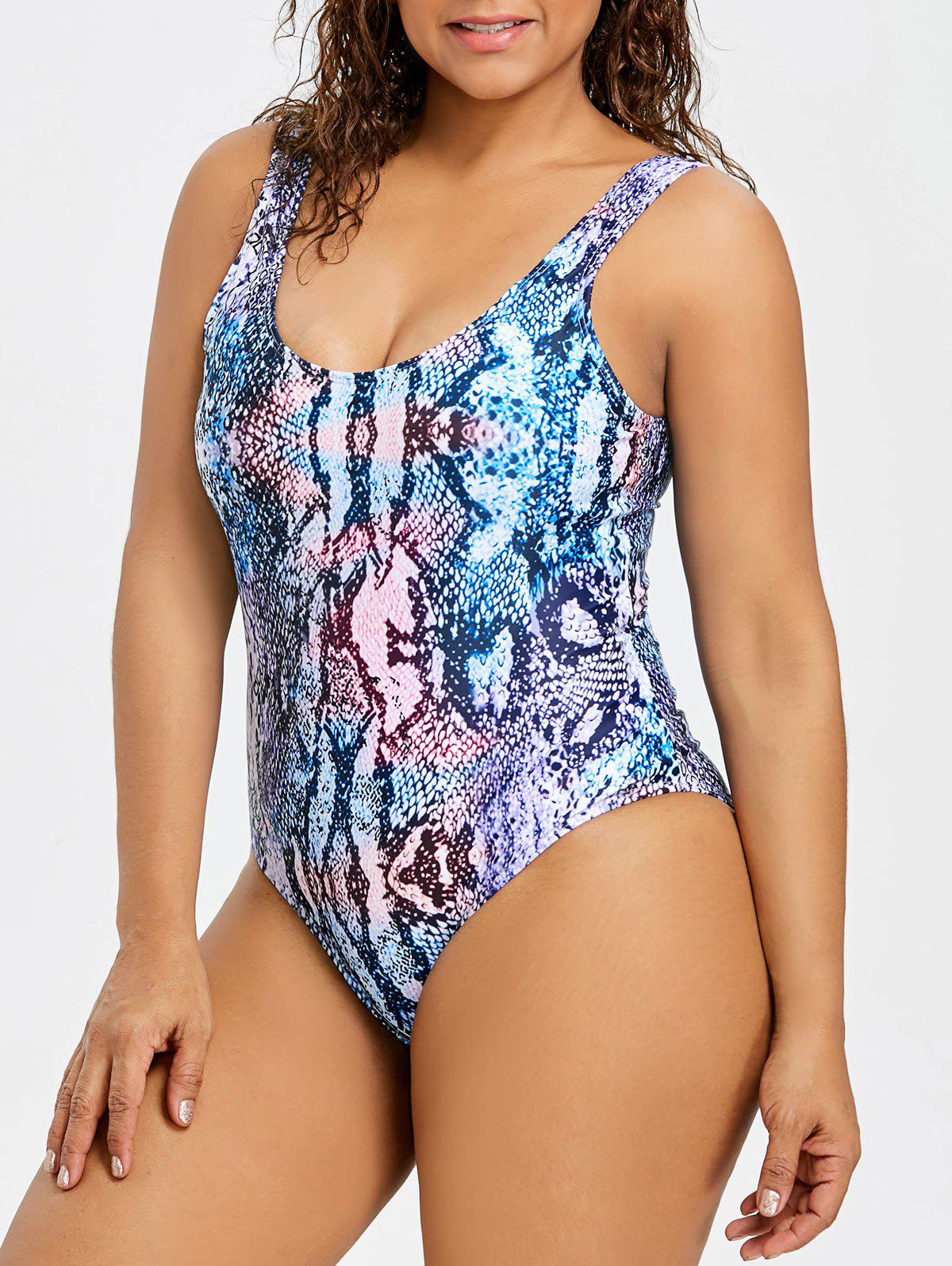2019 Graphic Plus Size Thong One Piece Swimsuit  65f502459a85