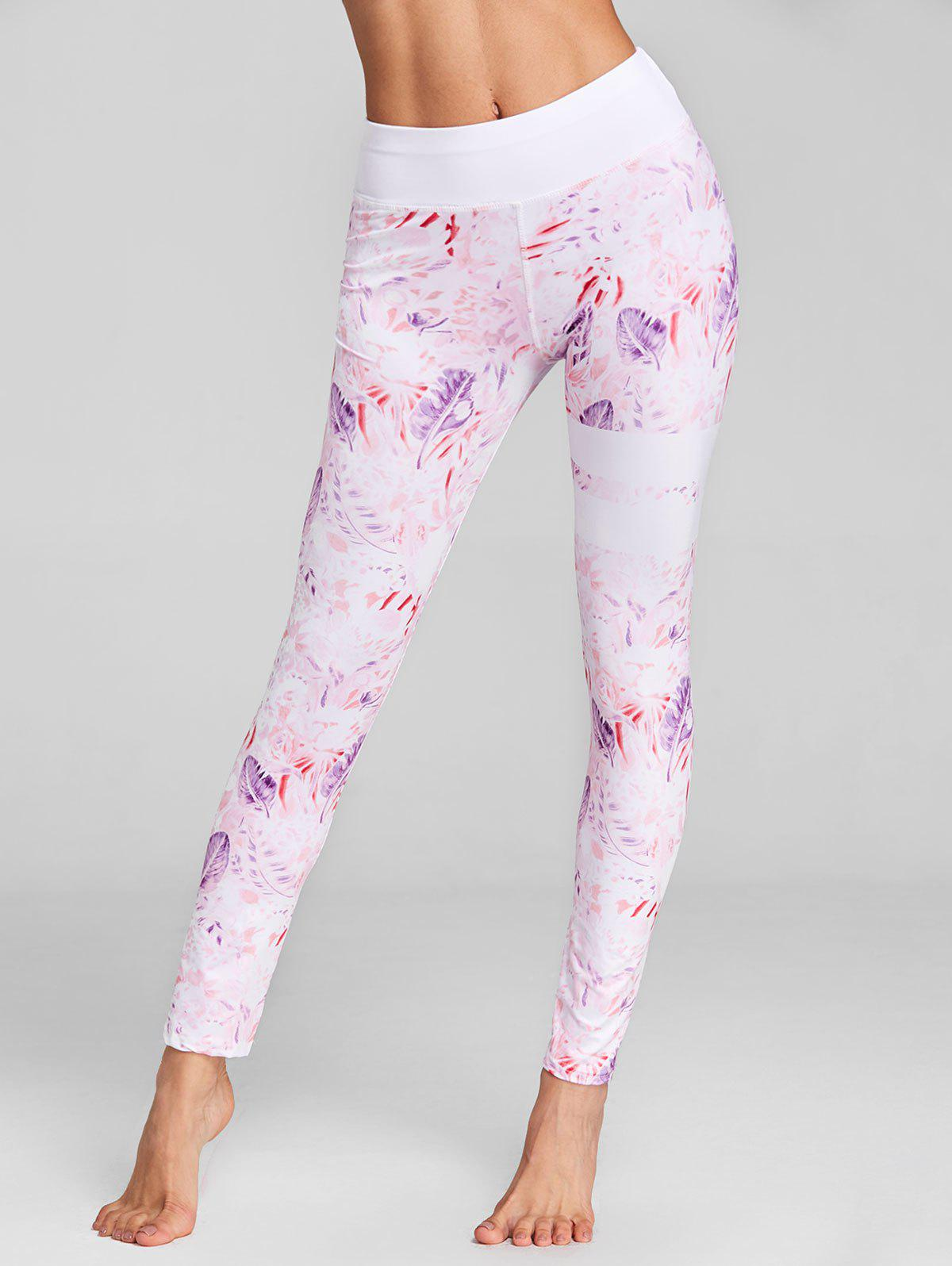 Chic Flower Feather Print Skinny Leggings