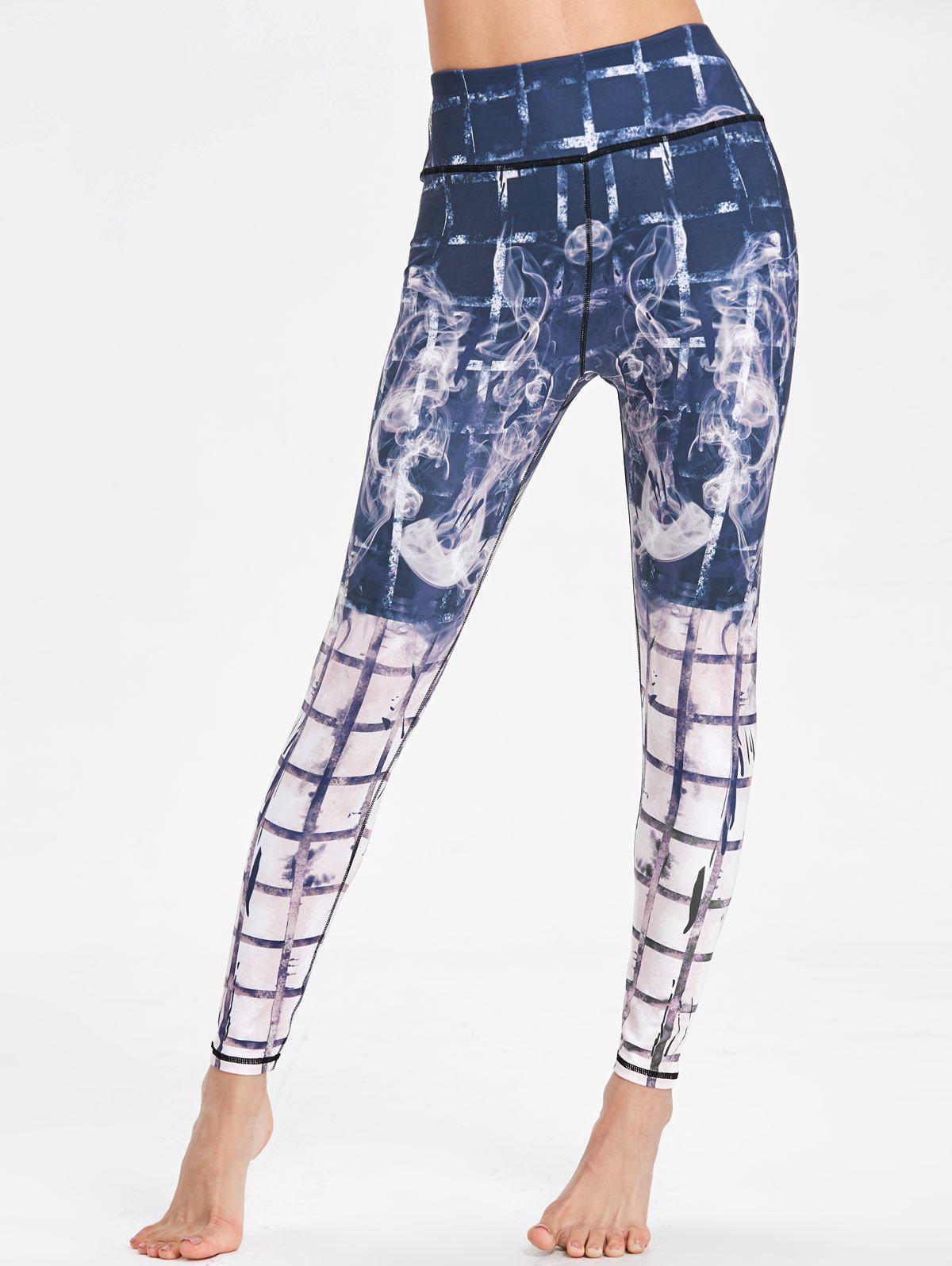 Outfit Plaid Print High Rise Workout Leggings