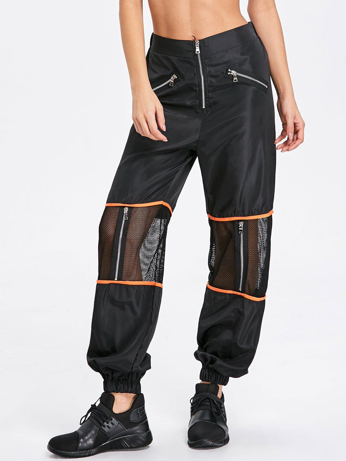 Hot Zipper Fly Mesh Insert Pants