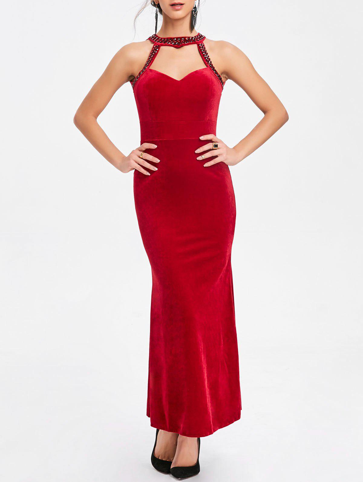 Online Beaded Backless Bodycon Maxi Party Dress