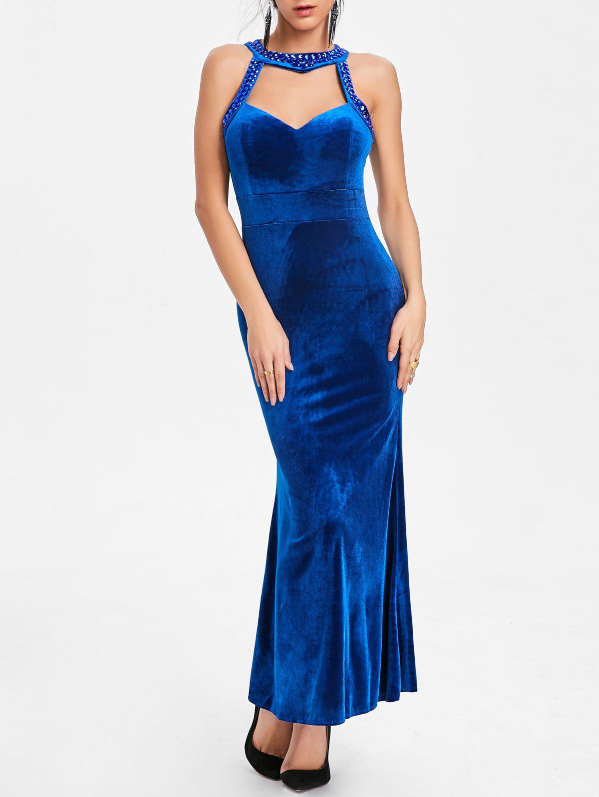 Chic Beaded Backless Bodycon Maxi Party Dress