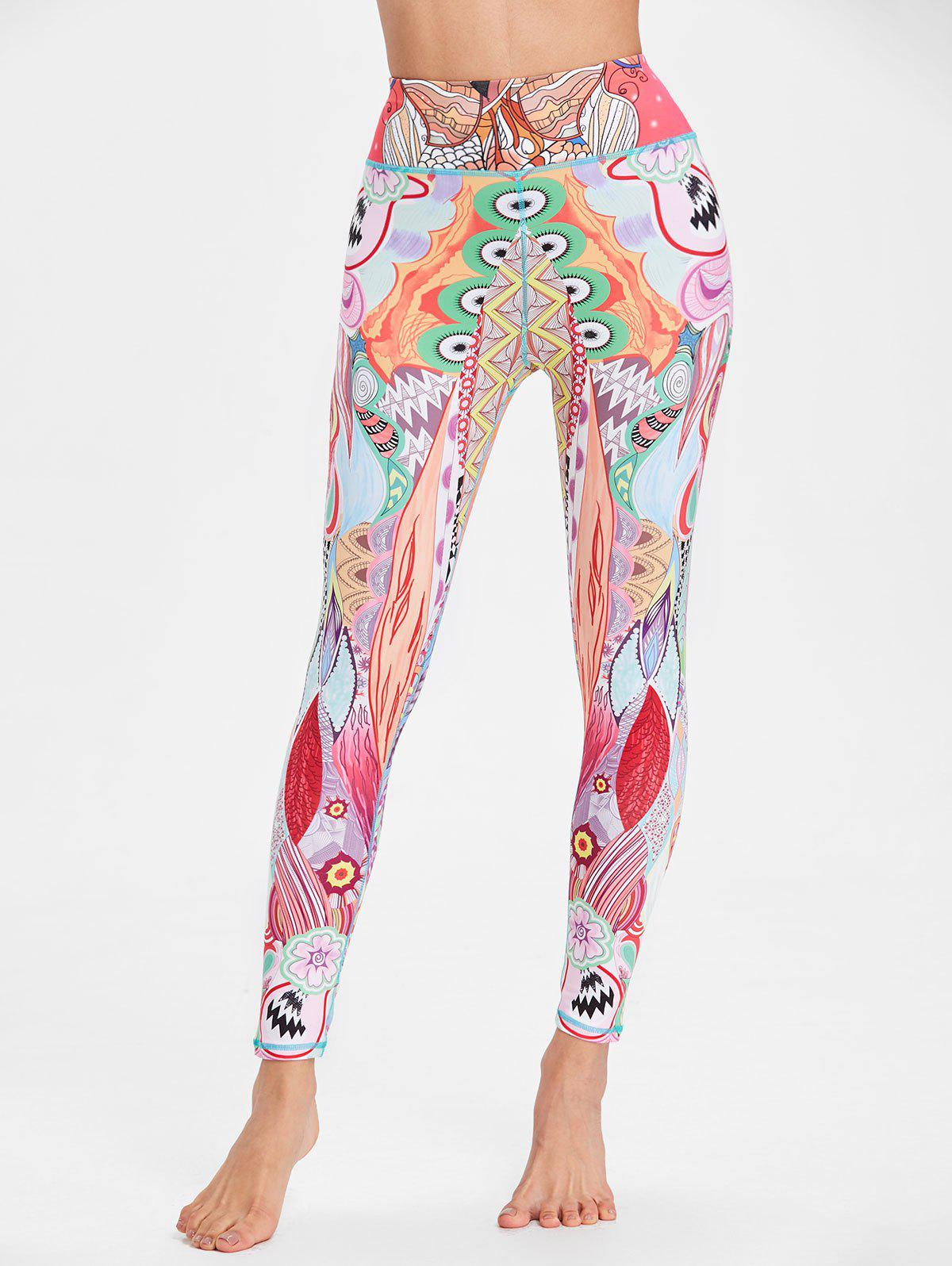 Discount Ethnic Flower Pattern Workout Leggings