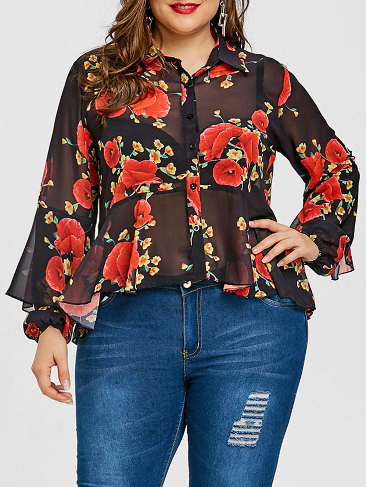 Trendy Valentine Plus Size Rose Print Skirted Blouse