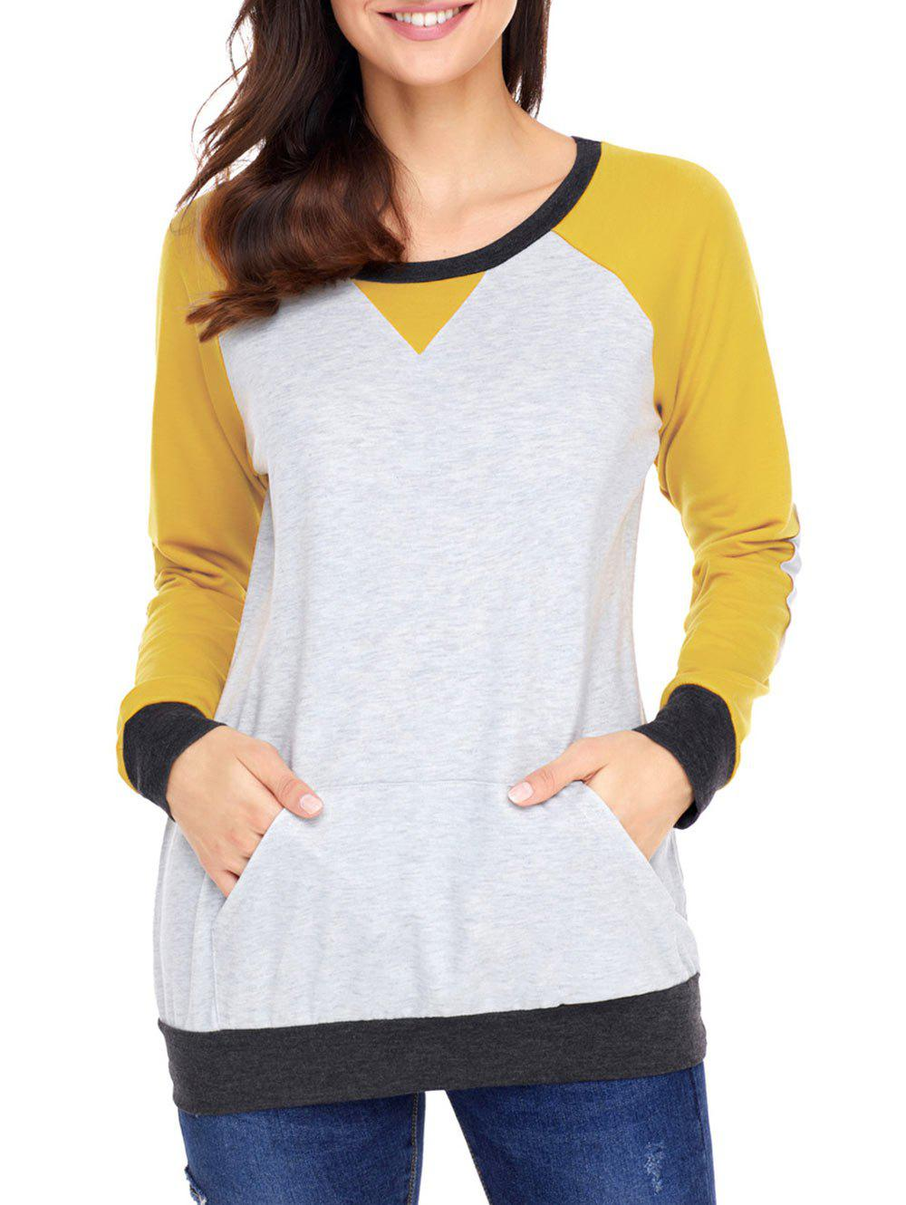Sale Elbow Patch Color Block Sweatshirt