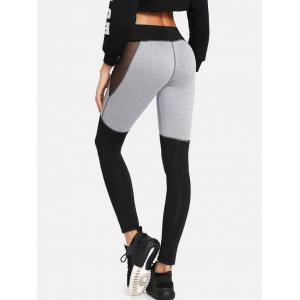 Color Lump Mesh Panel Leggings -
