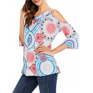 Circle and Floral Print Cold Shoulder Top -