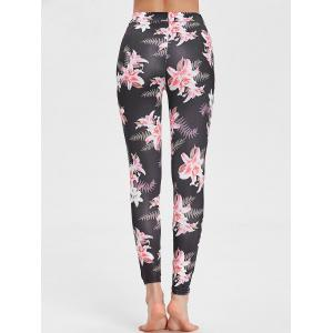 Floral Print Mesh Insert Sports Leggings -
