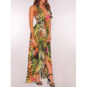 Leaf Print High Slit Halter Maxi Dress -