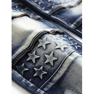 Zip Teeth Embellished Star Emboss Faded Jeans -