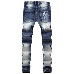 Zip Dents Embellished Étoiles Emboss Faded Jeans -