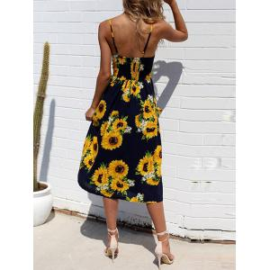 Spaghetti Strap Sunflower Printed Dress -