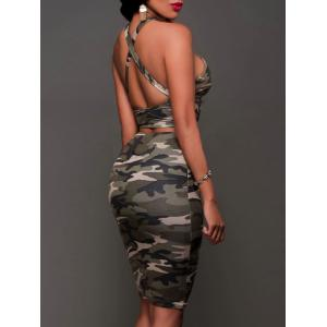 Cross Camouflage Skirt Two Piece Set -