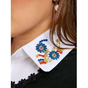 Flower Embroidered Plus Size Shirt Detachable Collar -