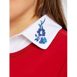 Embroidered Shirt Dicky Plus Size Detachable Collar -