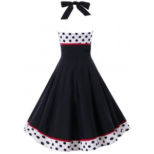 Polka Dot Print Halter Pin Up Dress -