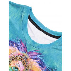 Abstract Lion Print Crew Neck Tee -