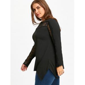 Plus Size Lace Insert Tunic T-shirt -