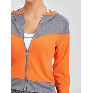 Hooded Raglan Sleeve Two Tone Sports Jacket -