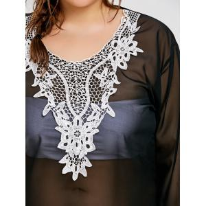 Bell Sleeve Plus Size Sheer Applique Cover Up -