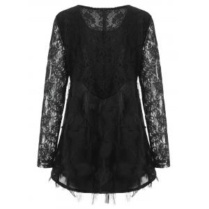 Плюс Размер Fringed Lace Panel Blouse -