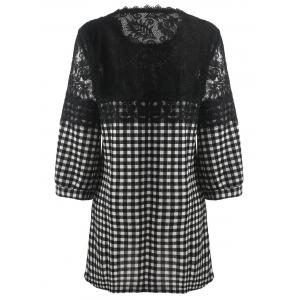 Plus Size Plaid Lace Panel Blouse -