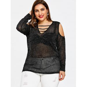 Sparkly Plus Size Ladder Cutout T-shirt -