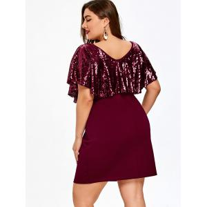 Plus Size Short Sleeve Sequined Caplet Dress -