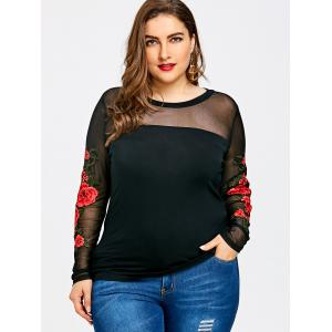 Plus Size Sheer Embroidery Long Sleeve T-shirt -