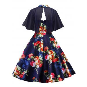 Retro Floral Printed Pin Up Dress With Cape -