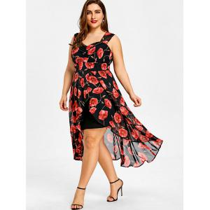 Plus Size Sweetheart Neck Floral High Low Dress -