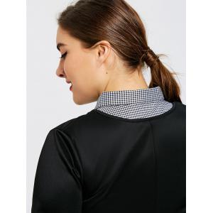 Plus Size Plaid Shirt Detachable Collar -