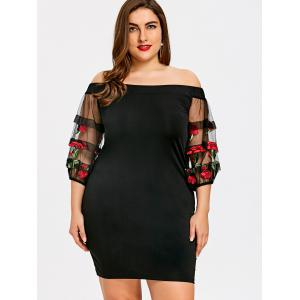Plus Size Embroidery Lantern Sleeve Bodycon Dress -