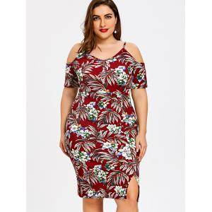 Plus Size Tiny Floral Cold Shoulder Hawaiian Dress -