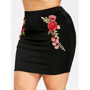 Embroidery Mini Bodycon Skirt -