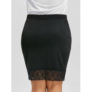 Plus Size Lace Trim Crossover Front Skirt -