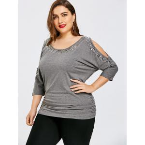 Plus Size Batwing Sleeve Cold Shoulder T-shirt -