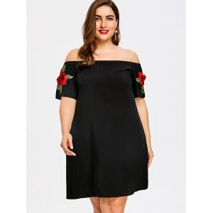 Plus Size Embroidered Off The Shoulder Trapeze Dress -