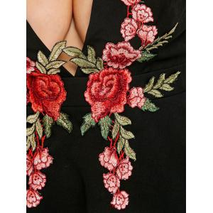 Embroidered Plus Size Plunge Party Dress -