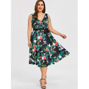 Plus Size Tropical Midi Surplice Dress -