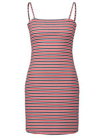 Cheap Spaghetti Strap Striped Bodycon Dress