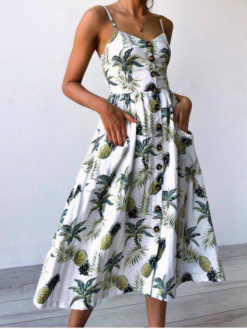 Online Spaghetti Strap Pineapple Printed Dress