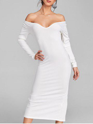 Store Long Sleeve Open Shoulder Ribbed Dress