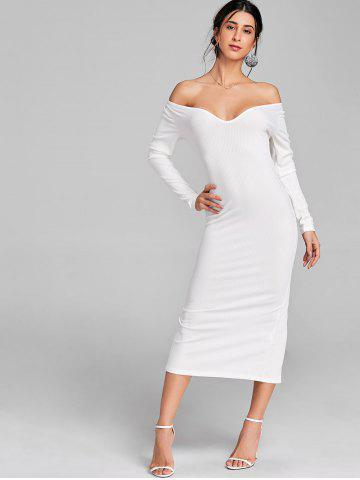 Long Sleeve Open Shoulder Ribbed Dress
