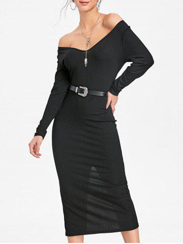 Latest Long Sleeve Open Shoulder Ribbed Dress
