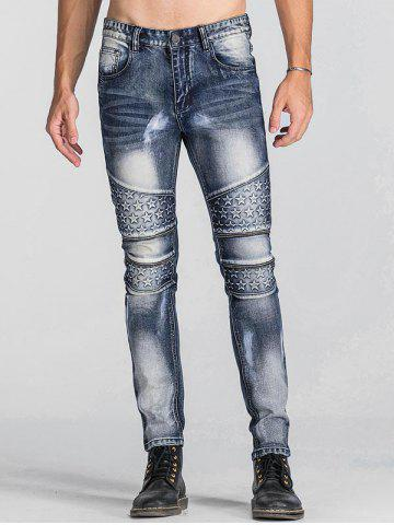 Zip Teeth Embellished Star Emboss Faded Jeans - BLUE - 40