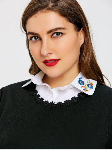 Outfit Flower Embroidered Plus Size Shirt Detachable Collar
