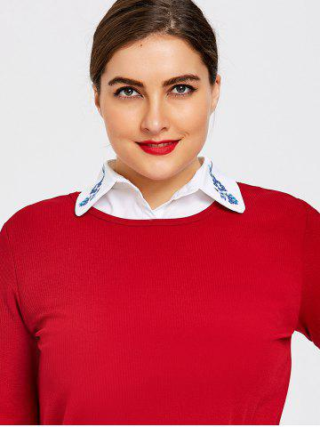 Chic Embroidered Shirt Dicky Plus Size Detachable Collar