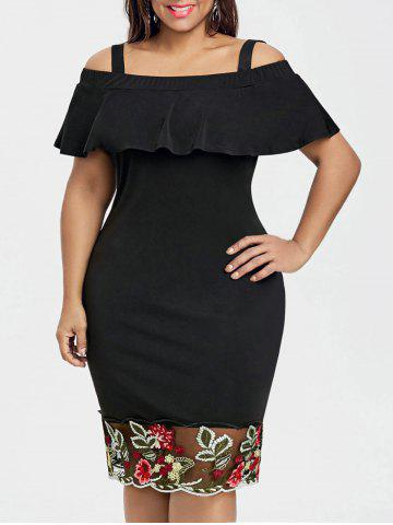 Chic Plus Size Open Shoulder Flounce Embroidered Dress